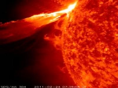 Nuevas imágenes de una eyección solar-