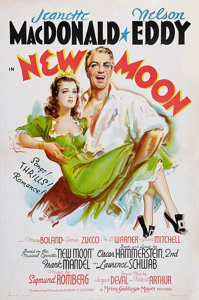 Cartel de la película del musical 'New Moon', 1940. Tooker Litho Co.