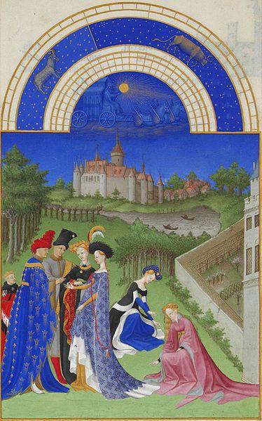 Abril',Les' Très Riches Heures du Duc de Berry:'.ilutstración de Gebroeders van Limburg (1412-1416)